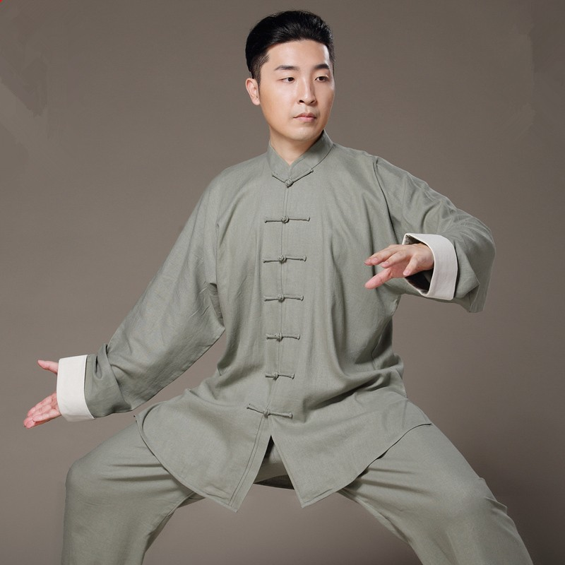bfd7316e9 Flax Tai Chi uniform Taiji Boxing Performance Clothing Autumn Summer linen Kung  Fu Suit Wing Chun Uniform Chinese style