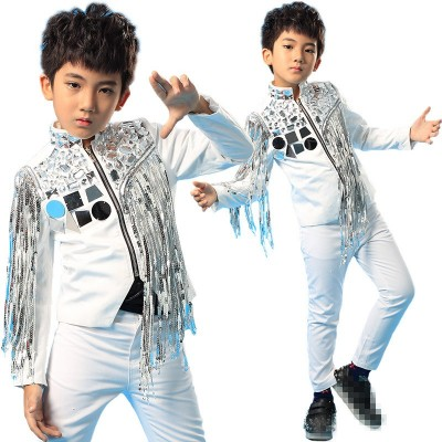 Fringed sequins boys Jazz Dance Costumes show costumes shelf dance clothes