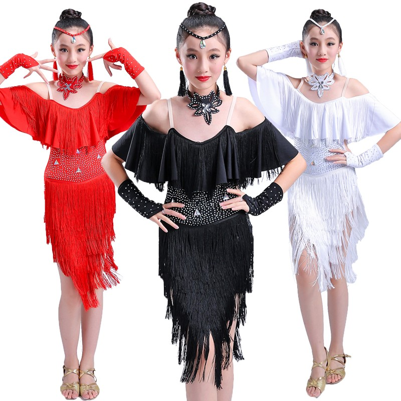 Girl bright diamond tassel Latin dance dress children's Latin competition clothing Children'sprofessional Latin dance dress