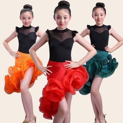 girl latin dance dress kids ballroom sexy tango dresses for girls tops skirts ballroom costumes