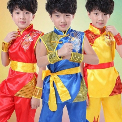 Girls Boys Dragon Uniform Chinese Kung Fu Martial Arts Exercise Sash Costume