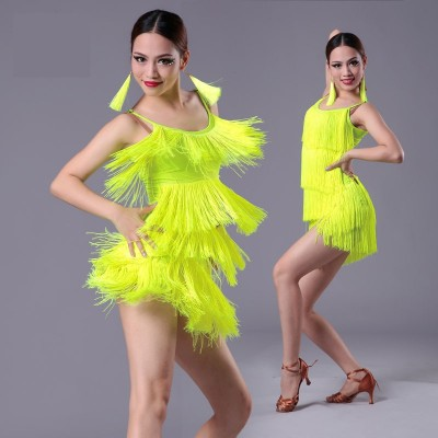 Girls Kids adult Modern Ballroom Latin Dance Dress tassel Fringe Salsa Tango Dance Wear Black Performance Stage Wear