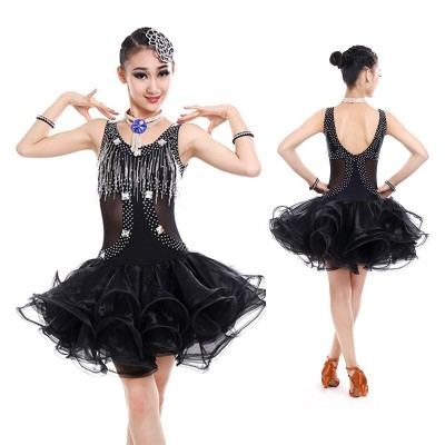 Girls Kids Latin Dress Black White Latin Tango Rumba Club Dance Wear Children Latin Dance Competition Costumes