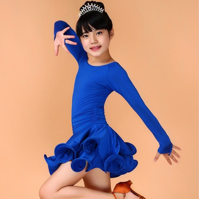 ea46b52171b2 Girls Latin Dance Dress Children Fancy Dress Kids Ballroom Dance ...