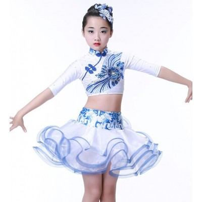Girls Latin dancing dress Kids Sequined Ballroom Modern Dance wear Outfits Children's Jazz Party Stage wear Chinese Folk Dance