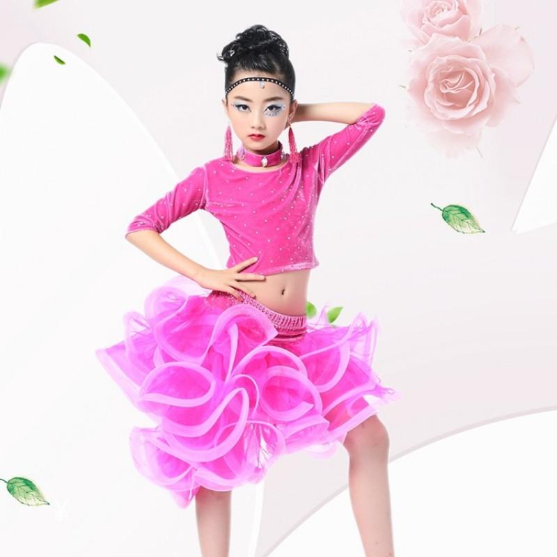 e0034611dc0a girls latin dress danse dresses latin tops flamengo skirt child kid children  dance dress girls fringe ballroom dancing latin dress for kids tango