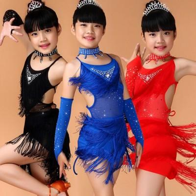 Girls latin dresses Sequin Fringe Blue Pink Black Red Latin Salsa Dress Child Girls Kids Latin Dance Costumes