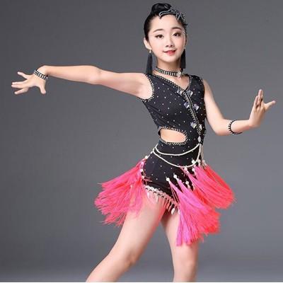 Girls' Tassels Latin Dances dress Children's Tassels Latin Dance Performances Girls' Performance Costumes