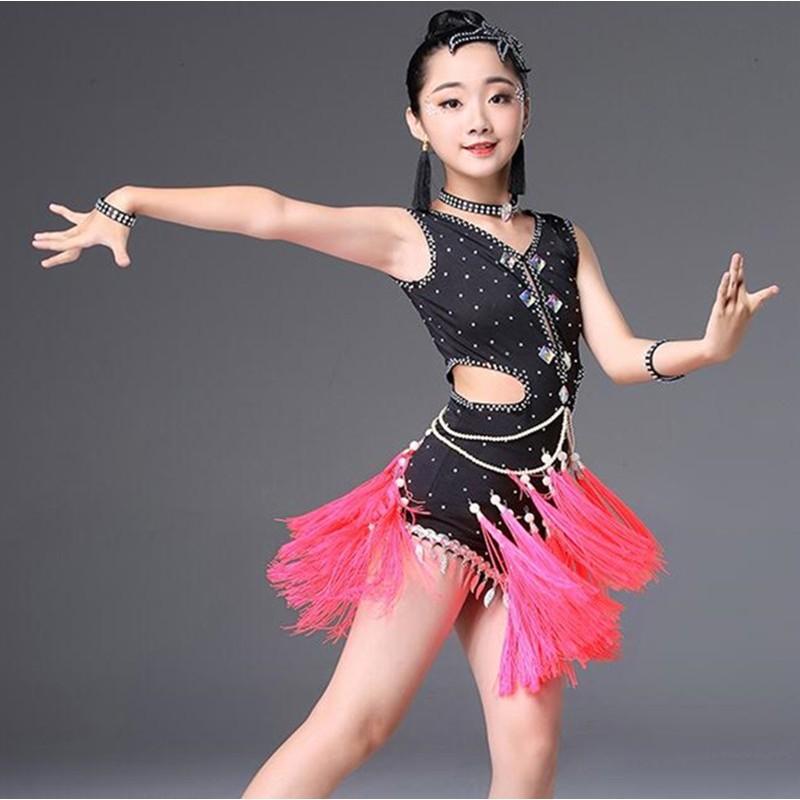 New children Latin Dance  Show Costumes Girls Tassel Skirt Performance Clothing