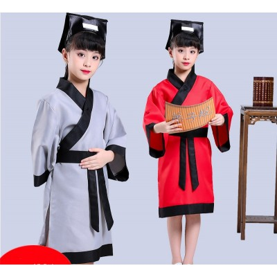 girl's traditional Chinese costume Han costume girl's performance costume three character classics disciple Confucius dress man children's performance costume,