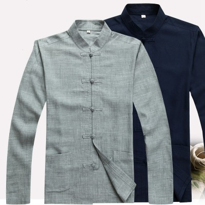 Gray Chinese men's Cotton/Linen Kung fu shirt Shirts tops