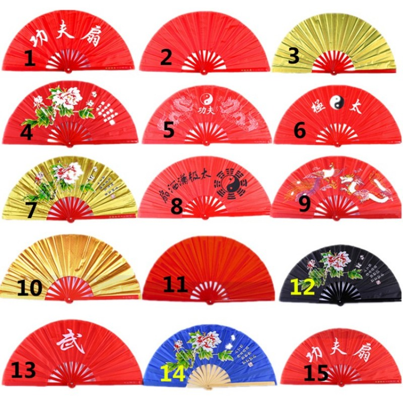High grade Bamboo Tai Chi Fan with bag Double Sided Chinese