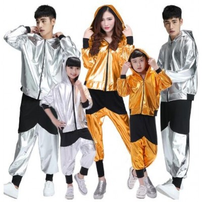 Hip hop costume, children, men and women, modern jazz dance, adult loose long sleeve students,hip hop performance, Dance Costume