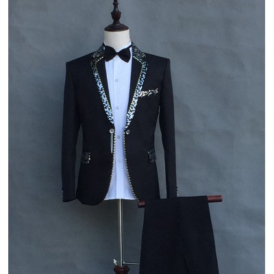 (Jacket+pants) Formal Male slim suits Wedding Groom Party Dress Host singer stage performance Costumes White Sequins Blazer sets