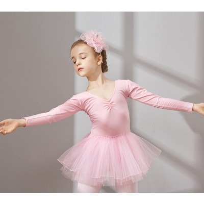 KI long sleeved dancers, children's Girls Ballet dresses, children's dance practice clothes, conjoined grade test clothes.