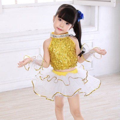 Kids children modern dance dresses girls yellow blue paillette singers chorus host jazz stage performance dress