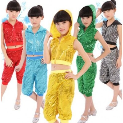 Kids Children Sequin Hip Hop Dance Costume Stage Jazz Dance Costumes Suit Girls Boys Crop Top With Hooded and Pants