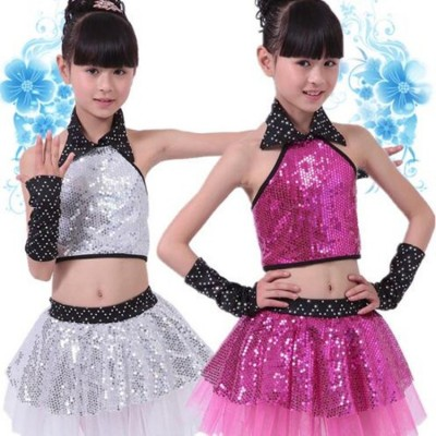 kids jazz dance dresses Children Sequin Dance Modern Dance Costume Latin princess dancing dress stage show dresses