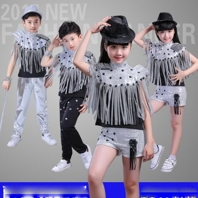 kids Modern Jazz Tassels dancing Costumes Sequined Girls short Sleeve Clothing Ballroom Hip Hop Stage Dancewear Outfits