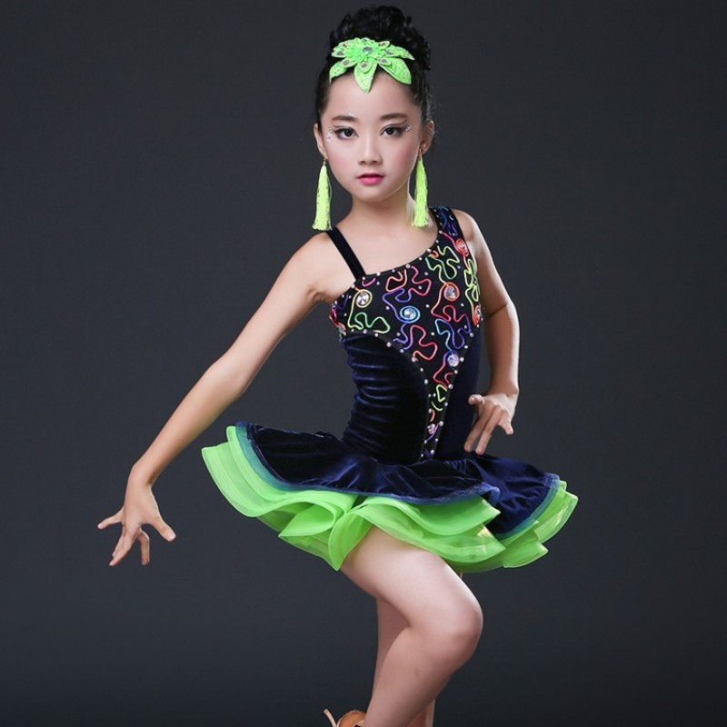kids Sexy Lace Dance Costumes Competition Dresses Dress Salsa Dancewear Tango Clothes Girls ballroom dancing dresses