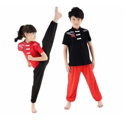 Kids Short Sleeve Wushu Uniform Practice Training Performance Costume Taichi Suits for Boys Girls