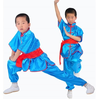 Kung Fu Kids Uniform Tai Chi Suits Sets Children Martial Arts Clothing Boys Wu Shu Short Sleeve Shao Lin Wear Costume