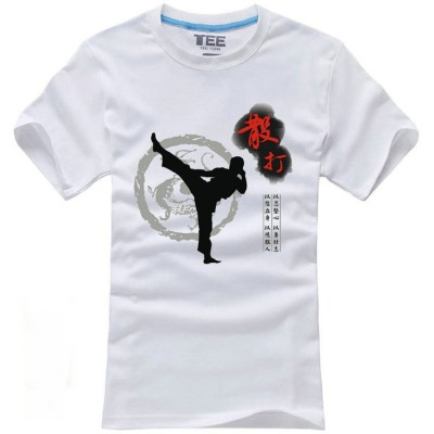 Kung fu T Shirt Chinese Tai Chi Tshirt Men Tops Short Sleeve Printed 100%Cotton Clothing T-shirt Tees