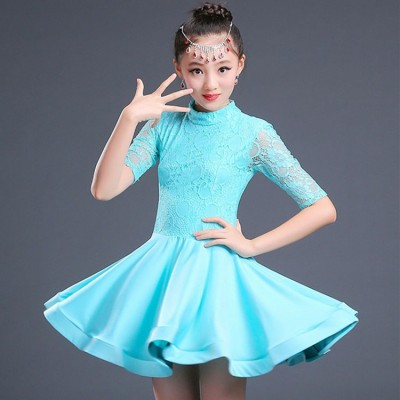 Lace Latin Dance Dress For Girls Latin Costume Child Kids Dancing Dress Girl Dancewear Kid Competition Latin Dress