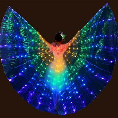 Large 5 Colored Belly Dance LED Wings Butterfly Dancer Costumes for Women Glowing Oriental Indian Bellydance Dancing Accessories