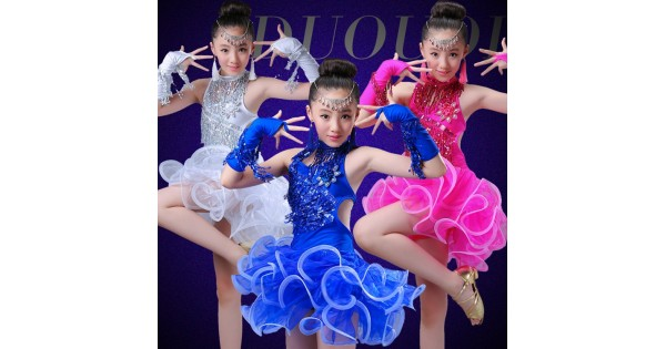 dc10b4277b66 Latin dance dress children Latin dance costumes costumes girls tassel  sequins competition clothes new dance clothing- Material: microfiber and  spandex ...
