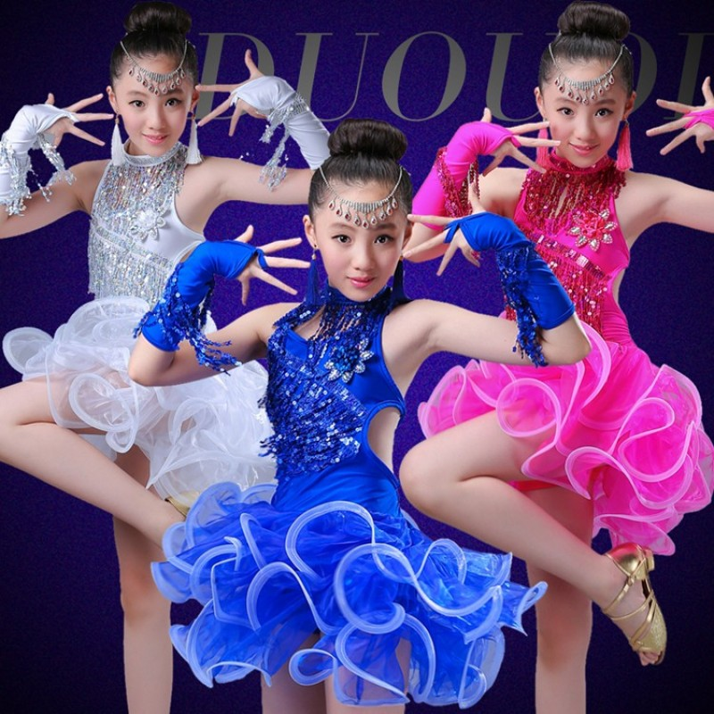 4b832059c5bf Latin dance dress children Latin dance costumes costumes girls tassel  sequins competition clothes new dance clothing