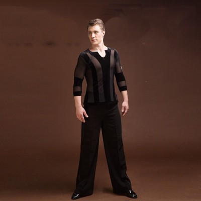 Latin Dance Tops For Males Black Color Plus Size Velvet Shirt Classical Men Professional Ballroom Practice Clothes