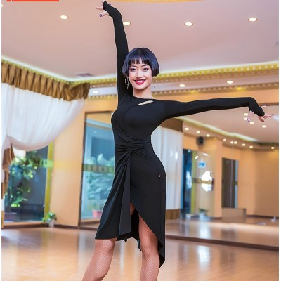 Latin Dress Female Adult Dresses Dance Black Pool Performance Exercise Clothes