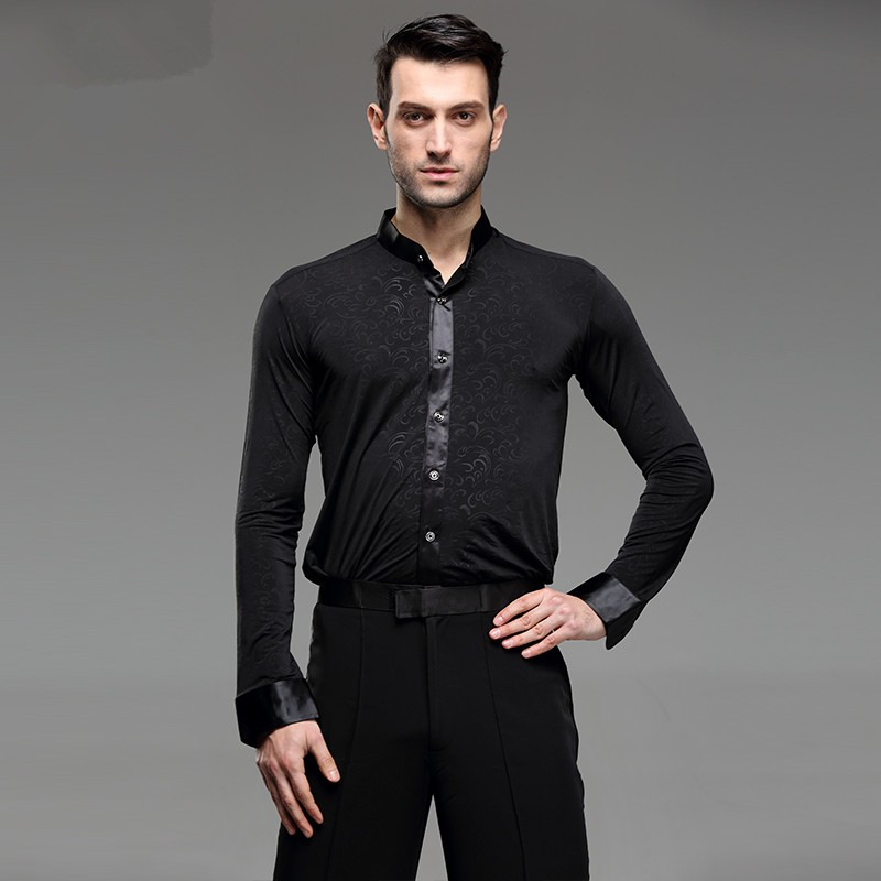 Latin shirts for men male competition stage performance long sleeves ballroom chacha samba waltz dancing tops