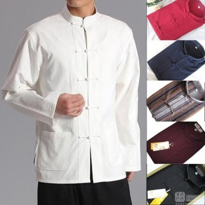 Long Sleeve Traditional Chinese Clothes Tang Suit Top Kung Fu Tai Chi Uniform Spring Autumn Shirt Blouse Coat for Men