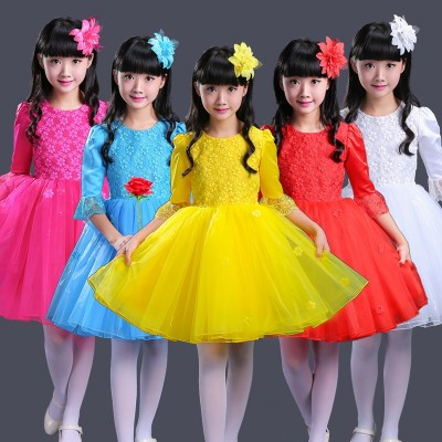 Long sleeved children's performance costume, princess princess dress, gown dress, chorus dress, dance girls, pupil performance costumes