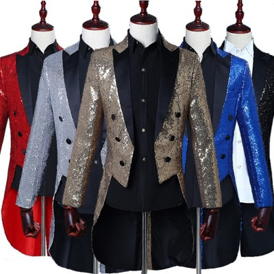 Male sequined tuxedo stage performance dress magician jacket nightclub bar hosted the United States vocal choir command