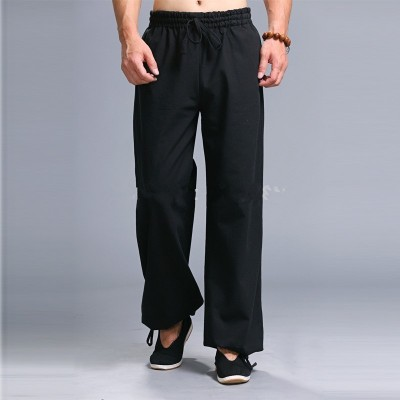 Men Black kung fu sport trousers martial arts tai chi sweatpants leisure training Linen Cotton pants