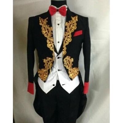 men tuxedo groom dress magic royal tuxedo male married formal dress singer dancer performance show party