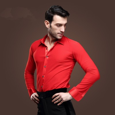 Men's ballroom dance shirts red black white long sleeves male competition stage performance latin chacha rumba dancing tops shirt