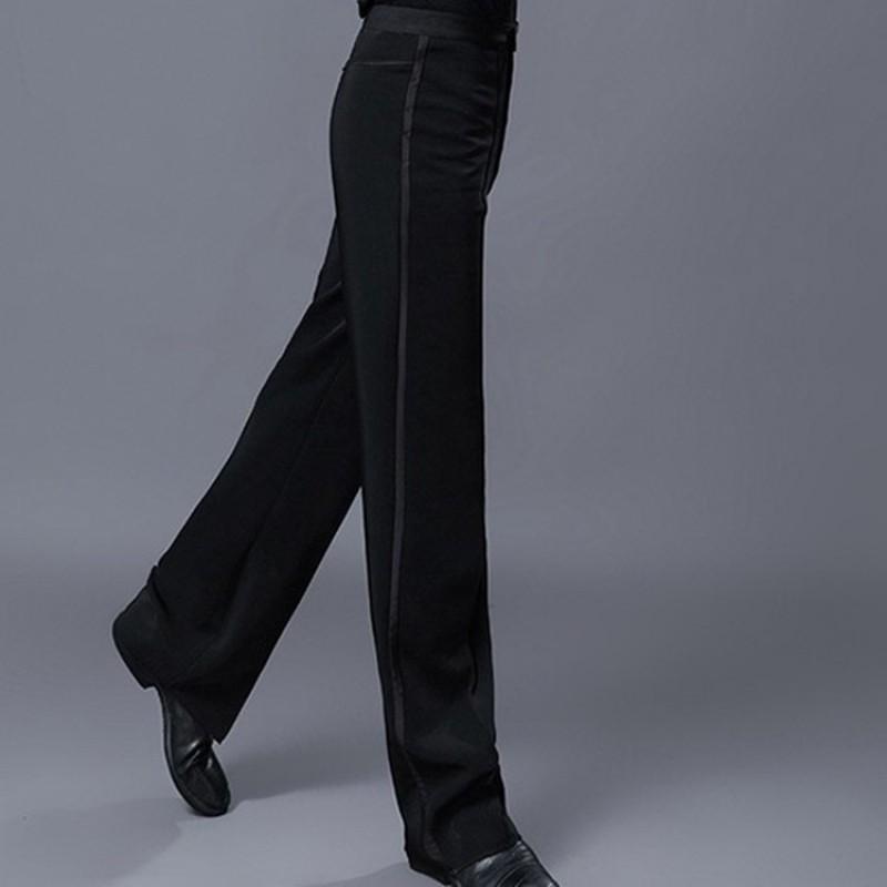 Men's ballroom latin dance long pants black male jive chacha waltz dancing trousers pants