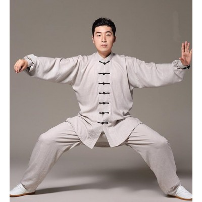 Men's chinese Kung Fu clothes linen material Taichi Sports fitness wush martial practice uniforms
