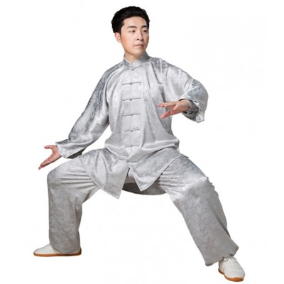 Men's Dragon pattern Kung fu uniforms Tai Chi practice wushu clothes top and pants morning exercise clothing performance clothes