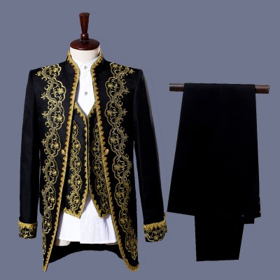 Men's jazz dance coats host singers magician European palace style embroidery pattern white black long jackets