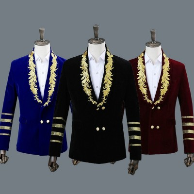 Men's Jazz Dance Costumes Double-breasted embroidered host singers show stage performance blazer suit