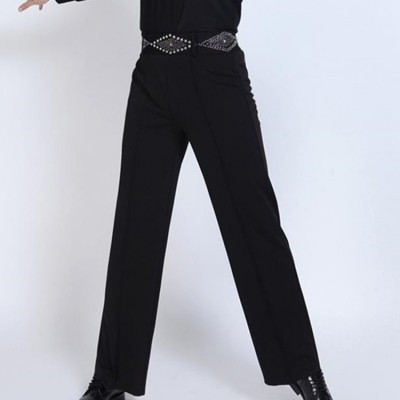 Men's latin ballroom dance pants diamond male black competition stage performance chacha rumba dancing trousers