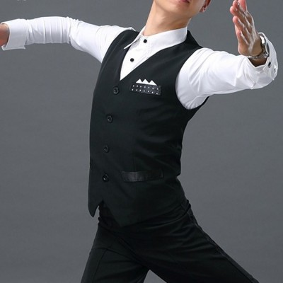 men's latin ballroom dance waistcoat vests for male black competition latin dance vests