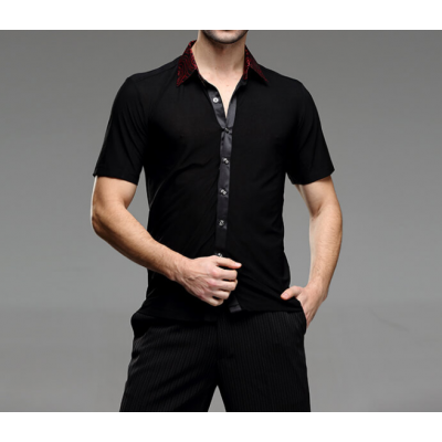 Men's latin dance shirts short sleeves male ballroom tango jive chacha rumba waltz dancing tops
