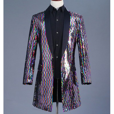 Men's Long color sequined trench coat Colorful red sequins DJ singer costume Colored sequin costume Men's Jazz Dance Costumes
