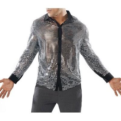 Men's Sequins Long-sleeved shirt Performance T-Shirt